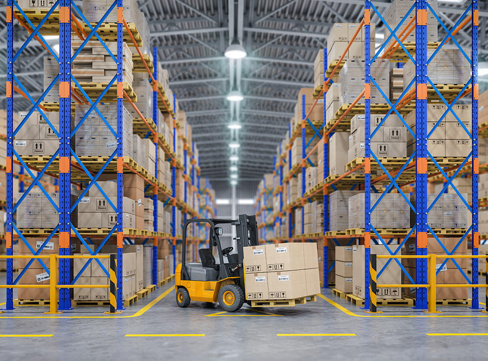 Fork lift in a warehouse of pallet racks